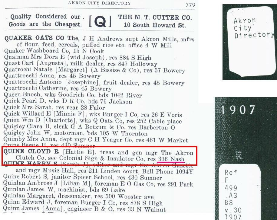 C. R. Quine telephone listing in 1907