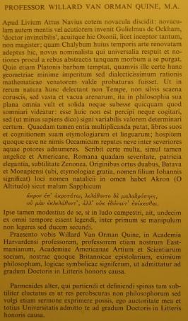 Quine Oxford degree latin citation