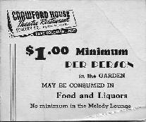 Crawford House Theatre Restaurant ticket, Scollay Sq, Boston, Mass.